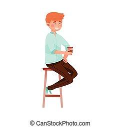 illustration, séance, table, boire, vecteur, homme, café, café, jeune, rue