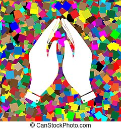 illustration., símbolo., mão, vector., oração, branca, col, ícone