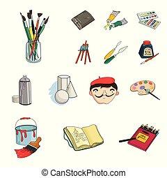 illustration., símbolo, pintor, vector, colección, dibujo, design., caricatura, iconos, conjunto, artístico, tela, acción, accesorios
