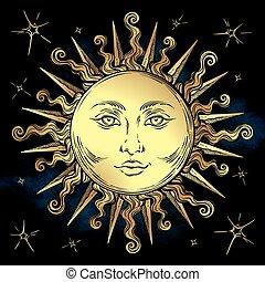 illustration., símbolo, tela, vector, sol, astrología, diseño, magia, estilo, mano, dorado, dibujado, estrellas, alquimia, boho