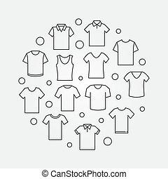 illustration., símbolo, vector, camiseta, tshirt, redondo