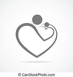 illustration., símbolo, vetorial, cuidado, forma., família, coração