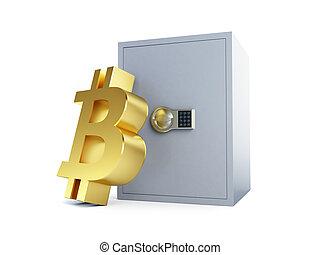 illustration, sûr, bitcoin, rendre, fond, blanc, 3d