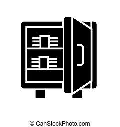 illustration, sûr, isolé, signe, billets banque, vecteur, arrière-plan noir, icône
