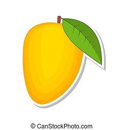 illustration., słodki, mango., odizolowany, owoc, tło., wektor, biały, fruit.