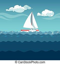 illustration., sailboat, mar, ondas, pequeno, branca