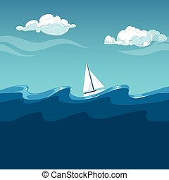 illustration., sailboat, ondas, mar, grande, branca