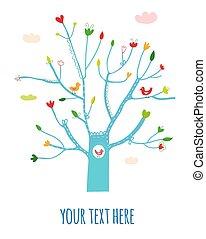illustration., salutation, arbre, fleurs, oiseaux, carte