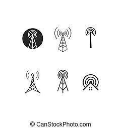 illustration, sans fil, logo, vecteur, icône, tour
