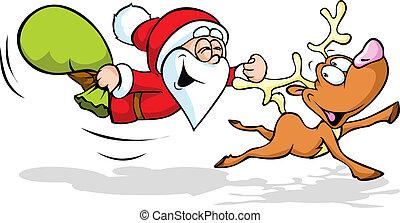 illustration, santa, renne, voler, rigolote