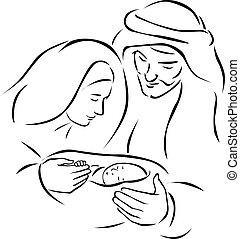 illustration), santo, familia , (vector, -, escena, nacimiento de navidad, virgen, joseph, jesús, bebé, maría