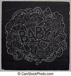 illustration., scarabocchiare, mano, vettore, bambino, disegnato, cartone animato