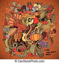 illustration., scarabocchiare, ringraziamento, mano, vettore, disegnato, cartone animato