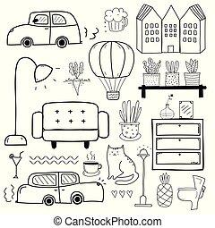 illustration., scarabocchiare, set., mano, vettore, disegnato, linea