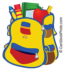 Illustration School satchel with books, pencils, a ruler on a white background