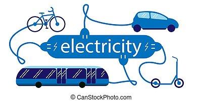 illustration., scooter), シンボル, 充満, ベクトル, 電気である, (car, 輸送, 満たされる, 電気, 自転車, station., バス, 車, lettering.