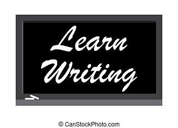 illustration., scrittura, scrivere, vettore, nero, imparare, board.