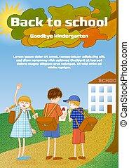 illustration., scuola, broshure, arrivederci, augurio, ...