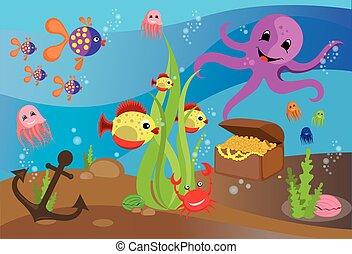 Illustration sea life