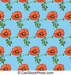 illustration seamless background of poppies on a blue