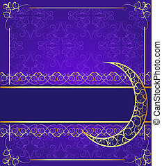 seamless background with band and moon with gold(en) pattern...
