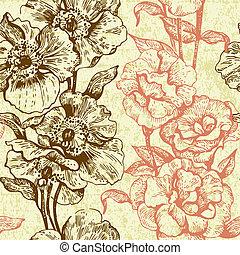 illustration, seamless, floral, vendange, pattern., main, dessiné