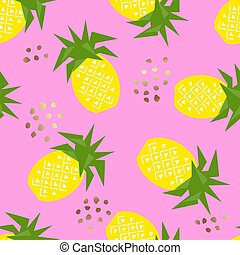 illustration., seamless, modello, vettore, ananas, geometrico