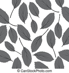 illustration seamless pattern green leaves on white background