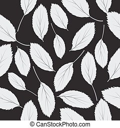 illustration  seamless pattern grey leaves on black background