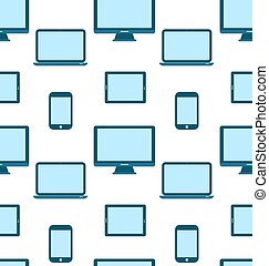 Seamless Pattern of Monitors, Laptops, Tablet Computers