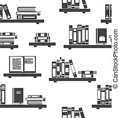 Seamless Pattern with Books on Bookshelves