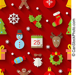 Seamless Pattern with Christmas Colorful Objects