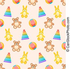 Seamless Pattern with Colorful Children Toys.