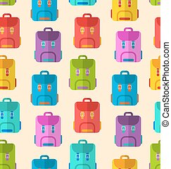 Seamless Pattern with Colorful School Rucksacks
