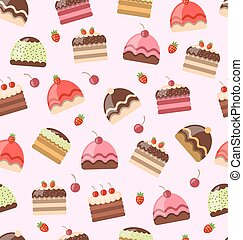 Seamless Pattern with Different Cake