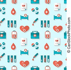 Seamless Pattern with Flat Medical Icons