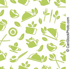 Seamless Pattern with Healthy Eating