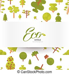 illustration seamless pattern with lettering, green trees...