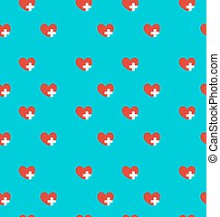 Seamless Pattern with Medical Symbol, Health Care Background