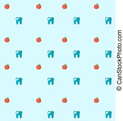 Seamless Pattern with Tooth and Apples, Health Care Background