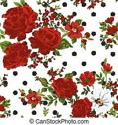 illustration., seamless, tło., wektor, roses., kwiatowy, czerwony