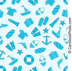 Seamless Texture of marine item, Summer Flat Icons, Travel on Holiday Journey