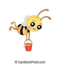 illustration., seau, abeille, porte, vecteur, honey., humanized, dessin animé