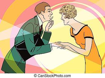 illustration., secrets., girl, stockage, dire, homme
