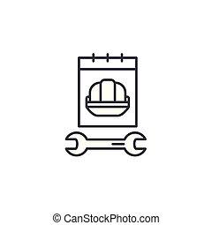illustration., segno, concept., lavoro, simbolo, vettore, linea, icona, lineare