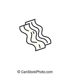 illustration., segno, concept., pancetta affumicata, simbolo, vettore, linea, icona, lineare
