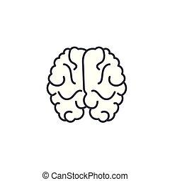 illustration., segno, concept., simbolo, cervello, vettore, linea, icona, lineare
