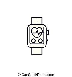 illustration., segno, concept., simbolo, pulsometer, vettore, linea, icona, lineare
