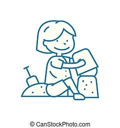 illustration., segno, concept., simbolo, sandbox, vettore, linea, icona, gioco, lineare