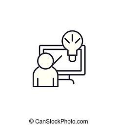 illustration., segno, concept., soluzione, simbolo, vettore, innovativo, linea, icona, lineare